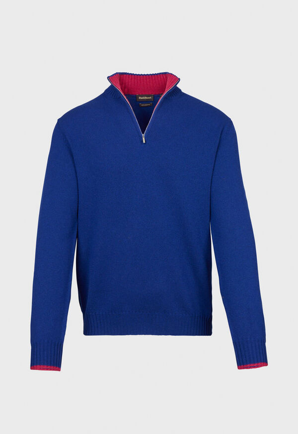 Cashmere 1/4 Zip Sweater with Inside Contrast