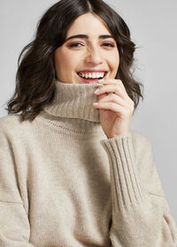 Cashmere Cropped Turtleneck Sweater, thumbnail 5