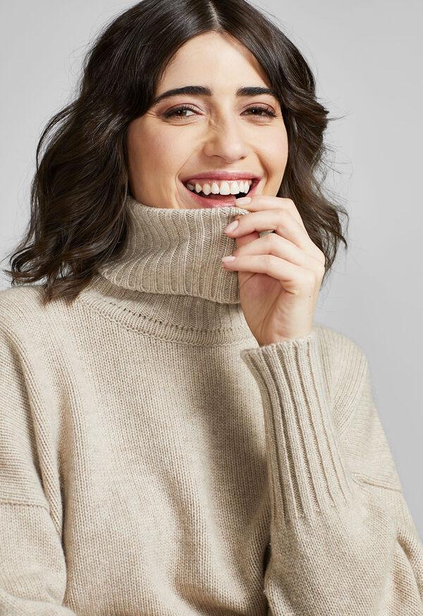Cashmere Cropped Turtleneck Sweater, image 5