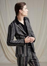 Black and Tan Linen Stripe Jacket, thumbnail 2