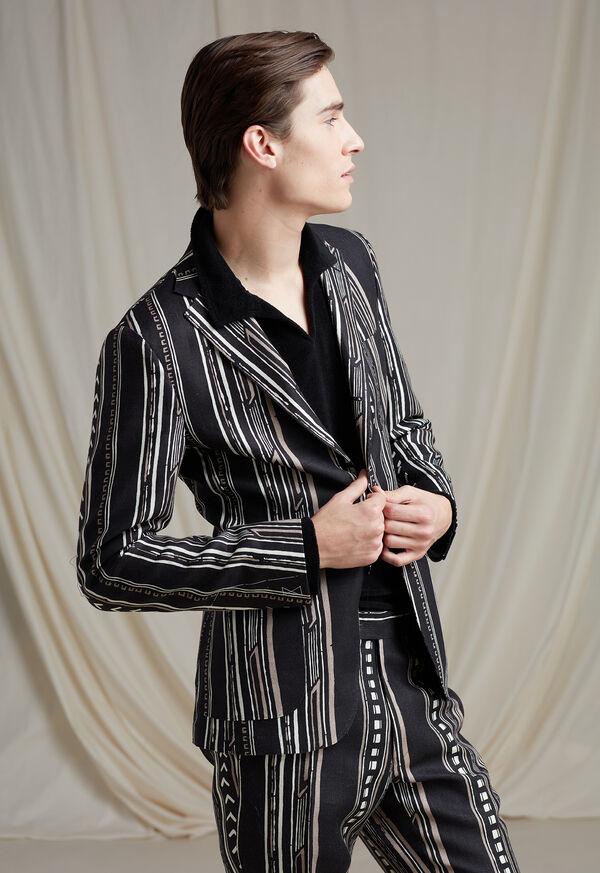 Black and Tan Linen Stripe Jacket, image 2