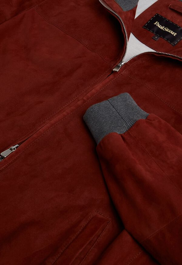 Suede Bomber Jacket with Knit Trim, image 5