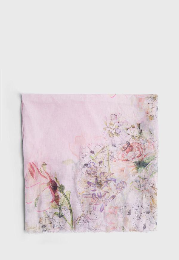 Pink Floral Print Scarf, image 1