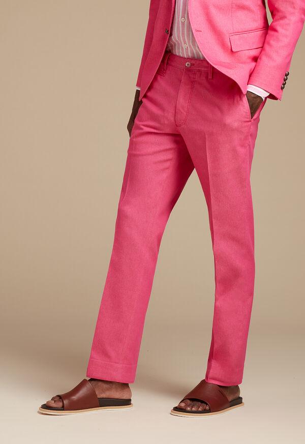Pink Cotton Blend Denim Pant, image 2