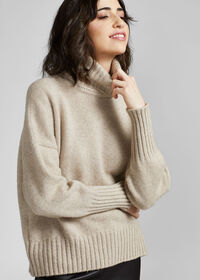 Cashmere Cropped Turtleneck Sweater, thumbnail 3