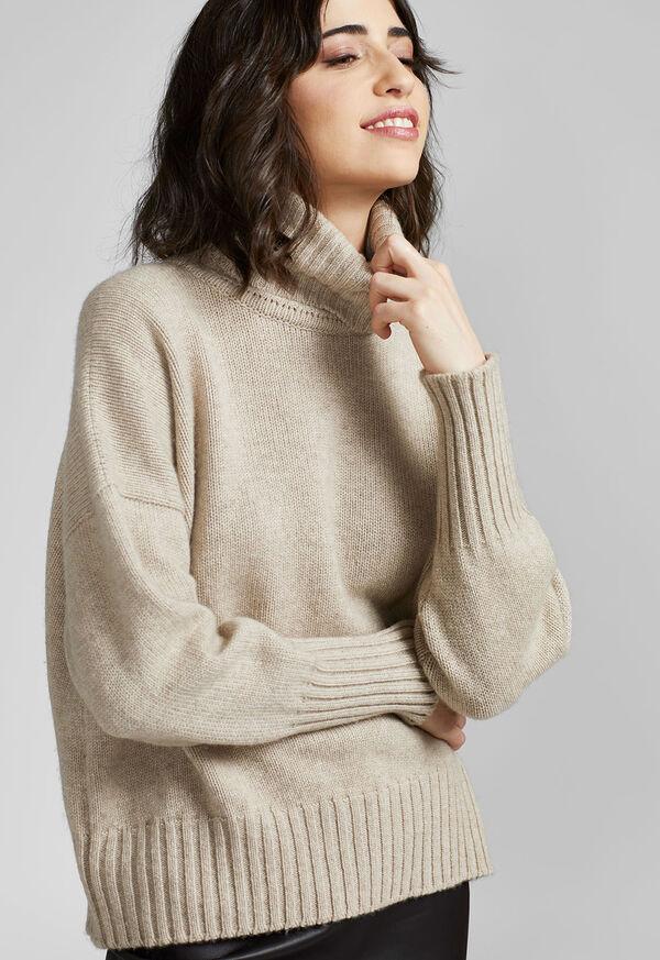 Cashmere Cropped Turtleneck Sweater, image 3