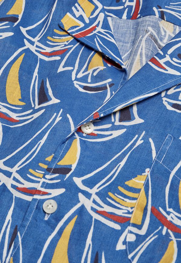 Linen Boat Print Shirt, image 2