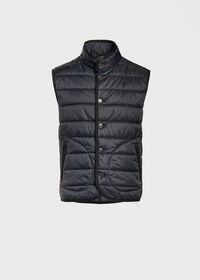 Nylon Button Front Quilted Vest, thumbnail 1