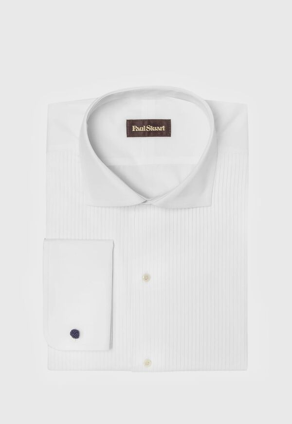 White Formal Dress Shirt with Narrow Pleats, image 1