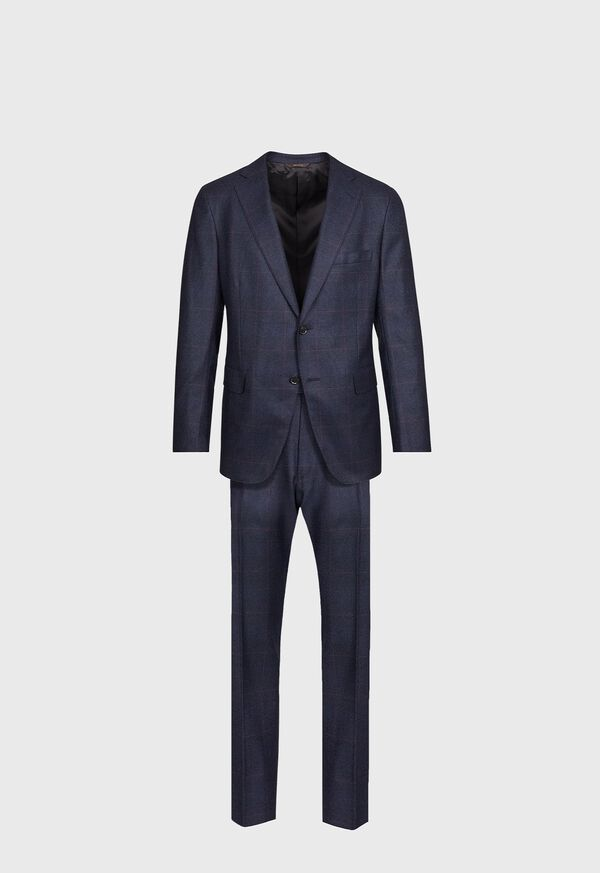Navy Plaid Soft Shoulder Suit, image 1