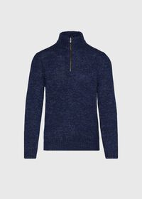 Mouline Quarter Zip with Suede Trim Sweater, thumbnail 1