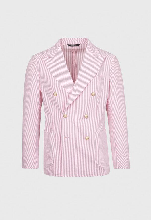 Pink & White Cotton Seersucker Jacket, image 1
