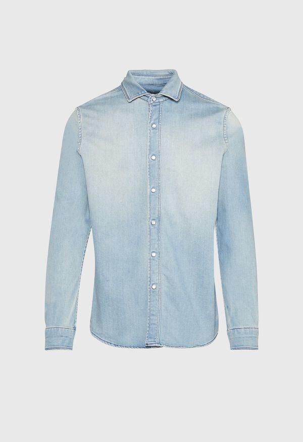 Washed Light Blue Denim Shirt, image 1