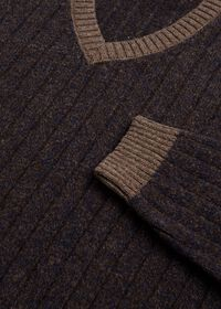 Ribbed V-Neck Sweater, thumbnail 2