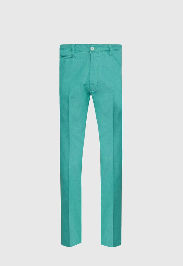 Green Cotton Blend Denim Pant