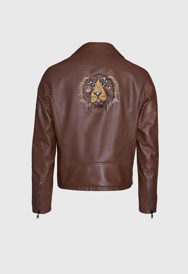 Leather Embroidered Motorcycle Jacket