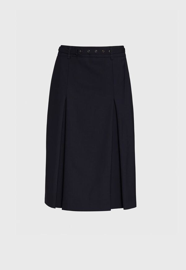 Double Pleated Navy Belted Skirt, image 1