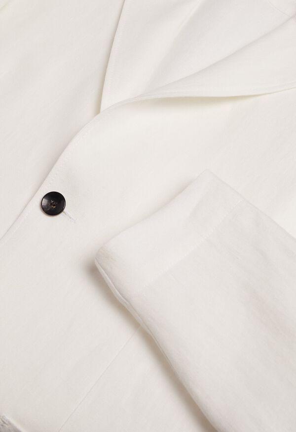 White Solid Linen Shirt Jacket, image 2