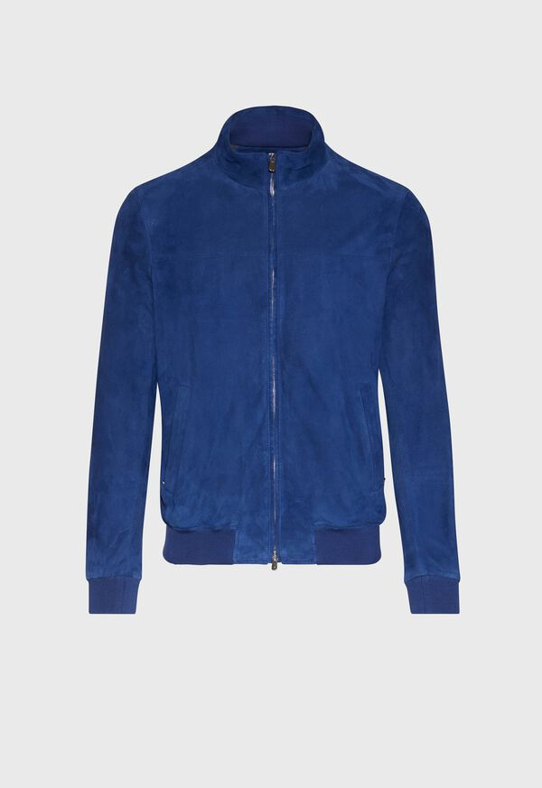 Suede Bomber Jacket with Knit Trim, image 1