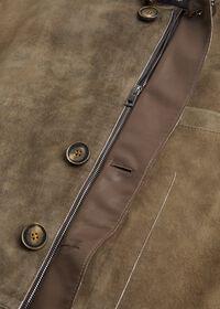 Brown Raw Cut Edge Suede Jacket, thumbnail 3