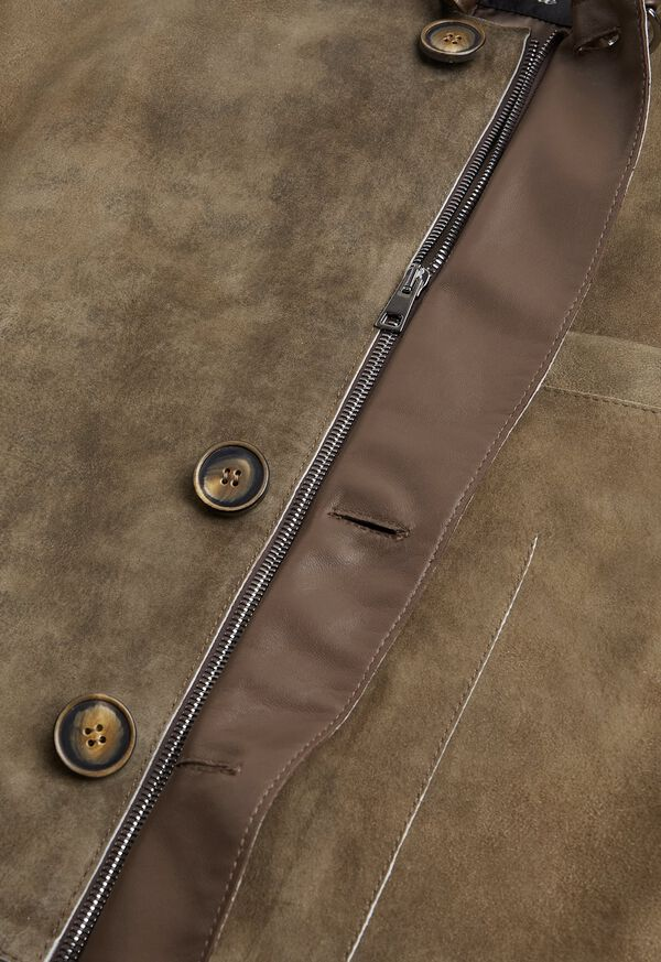 Brown Raw Cut Edge Suede Jacket, image 3