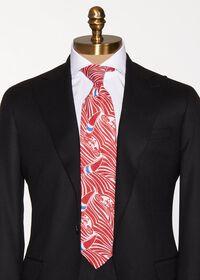 Red Sailboat Wave Print  linen Tie, thumbnail 3