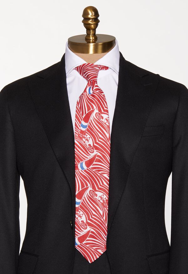 Red Sailboat Wave Print  linen Tie, image 3