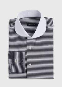 Black & White Horizontal Stripe White Round Collar Shirt, thumbnail 1