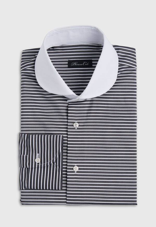 Black & White Horizontal Stripe White Round Collar Shirt