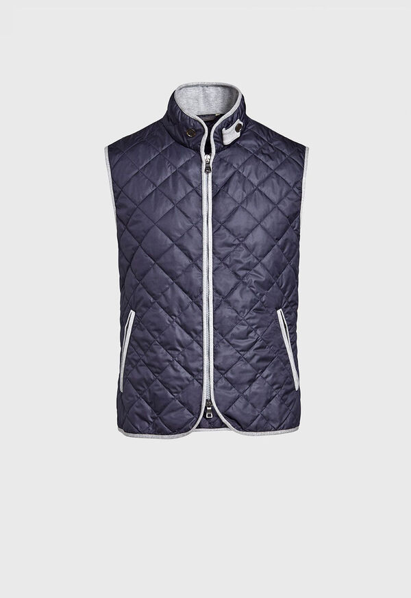 Quilted Nylon Vest with Wool Trim, image 1