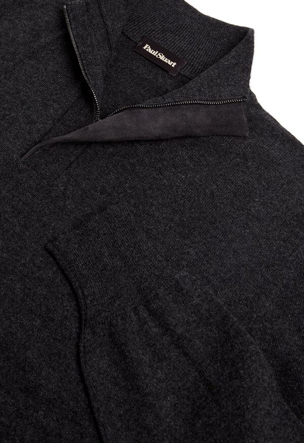 Cashmere  1/4 Zip Sweater with Suede Placket, image 2