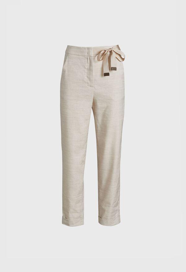 Linen Pant with Grossgrain Belt, image 1
