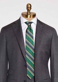 Green Deco Stripe Silk Skinny Tie, thumbnail 2