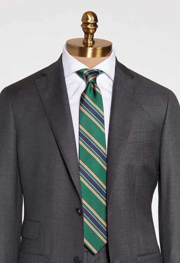 Green Deco Stripe Silk Skinny Tie, image 2