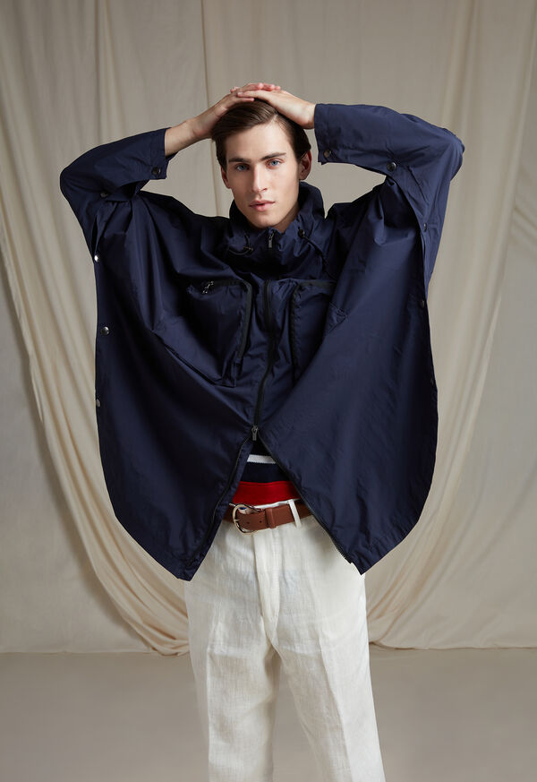 Navy Solid Cape Jacket, image 7