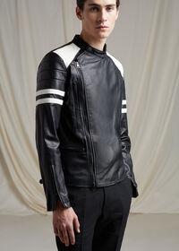 Black Leather Motorcycle Jacket, thumbnail 2