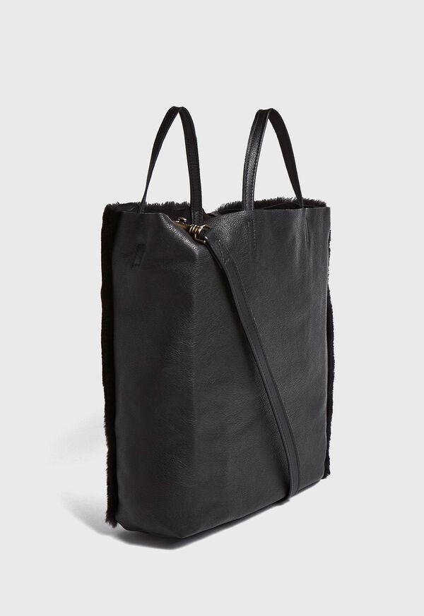 Shearling and Leather Handbag, image 2