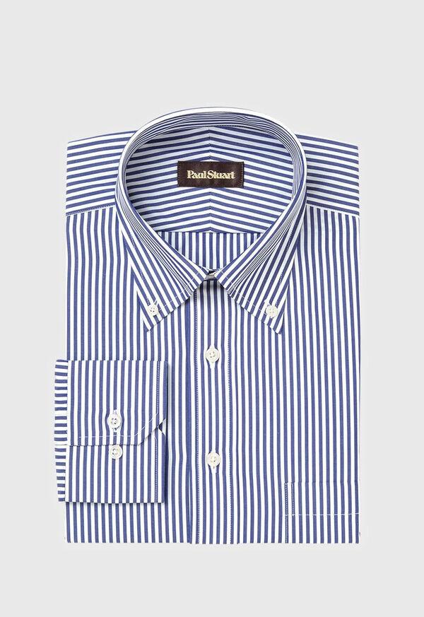 Navy Bengal Stripe Cotton Dress Shirt, image 1