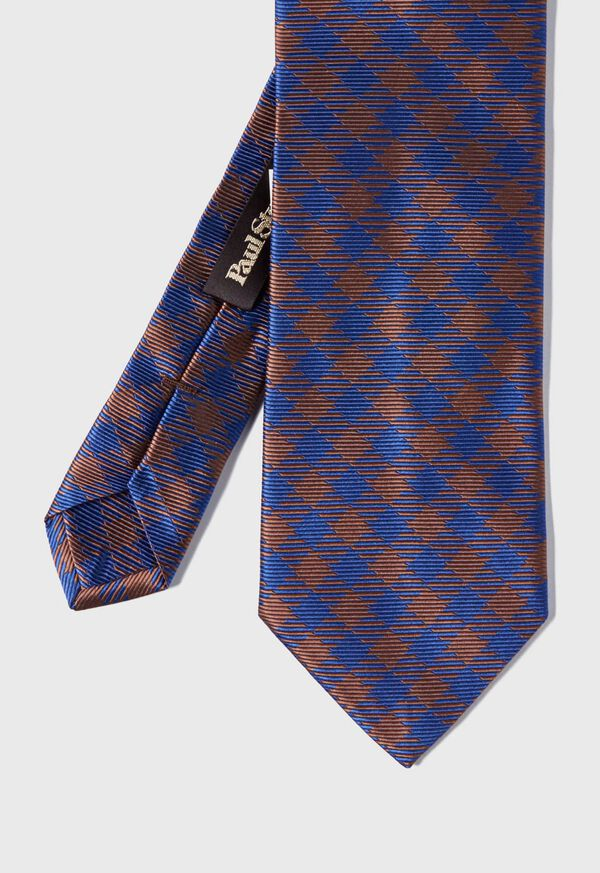 Gingham Check Silk Tie, image 1