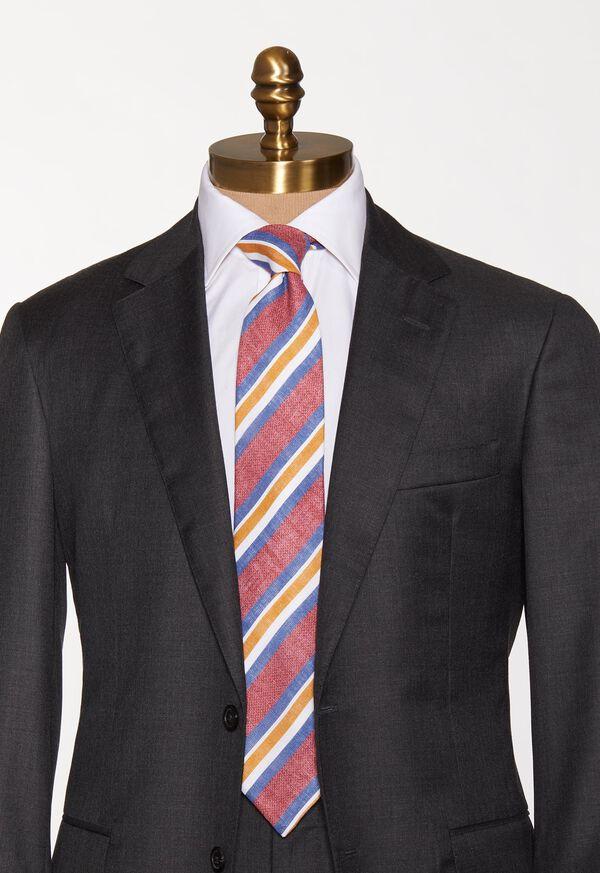 Printed Linen Stripe Tie, image 2