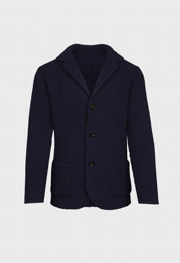 Wool Big Barley Stitch Sweater Jacket, image 1