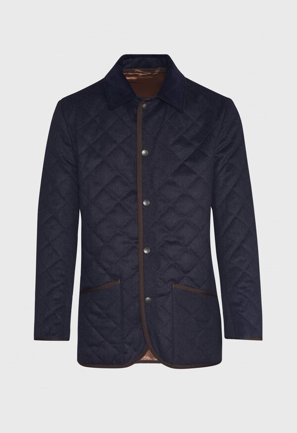 Quilted Loden Barn Jacket with Corduroy Collar, image 1