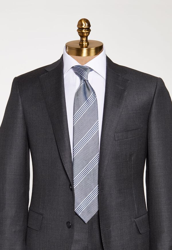 Silk and Linen Stripe Tie, image 2