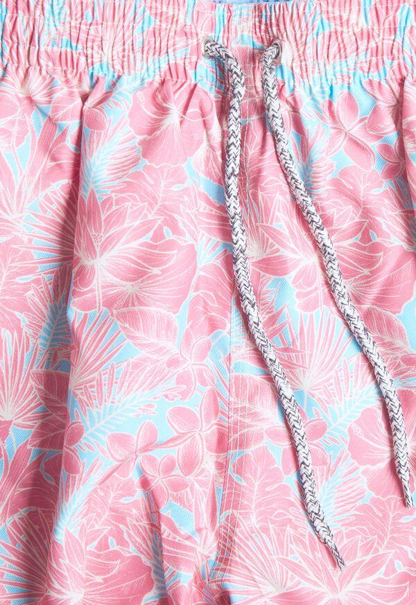 Coral Floral Print Swim Trunk, image 2