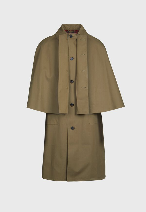 Olive Solid Water Proof Cape Coat, image 3