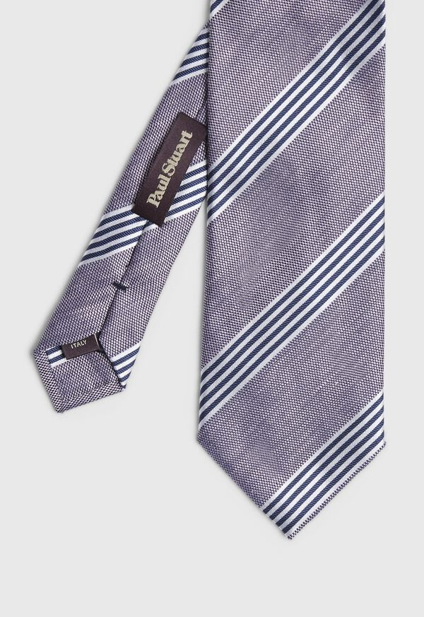 Silk and Linen Stripe Tie, image 1