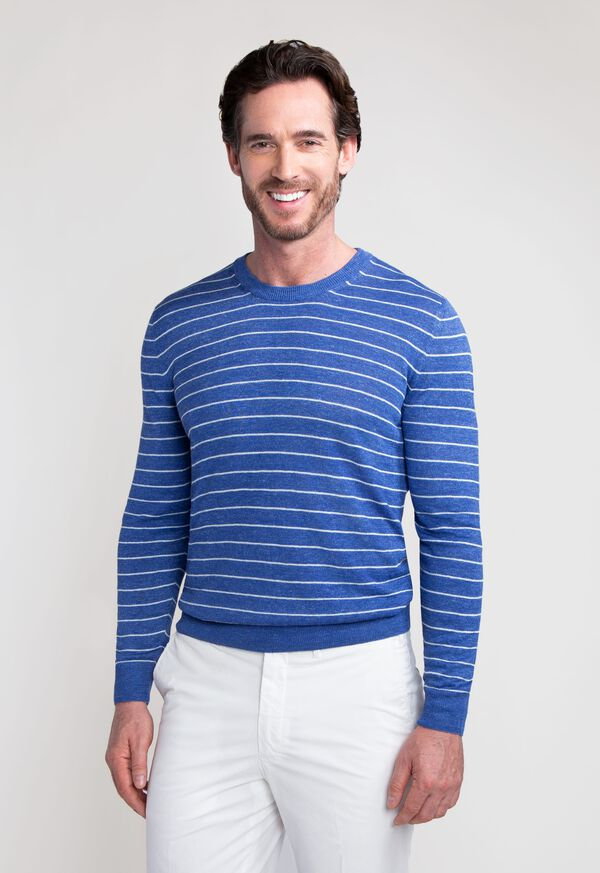 Linen and Silk Striped Crewneck Sweater, image 1