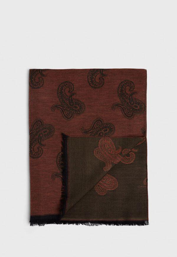 Jacquard Paisley Wool Blend Scarf, image 1