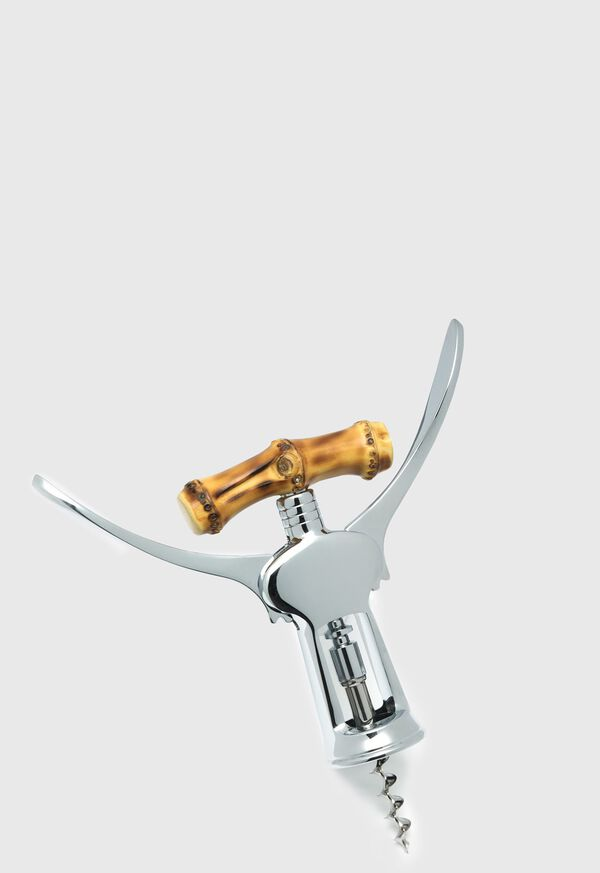 Bamboo Chrome Plated Brass Double Lever Corkscrew, image 1