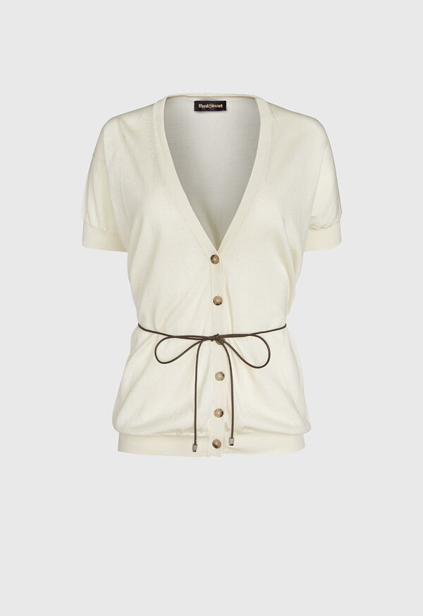 Button Front Cardigan with Belt, image 1